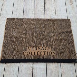 New Versace Beige/Black Logo Scarf